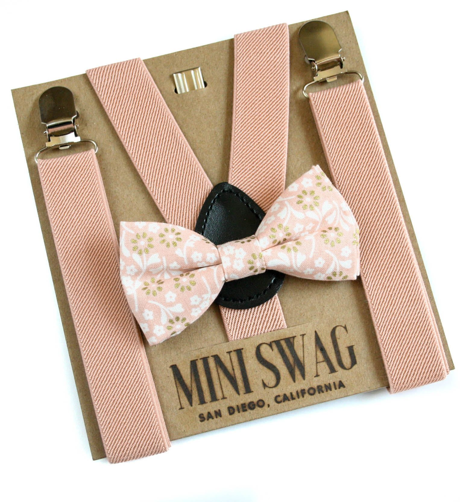 Floral Bow Tie Set, Ring Bearer Outfit, Blush Suspenders ...