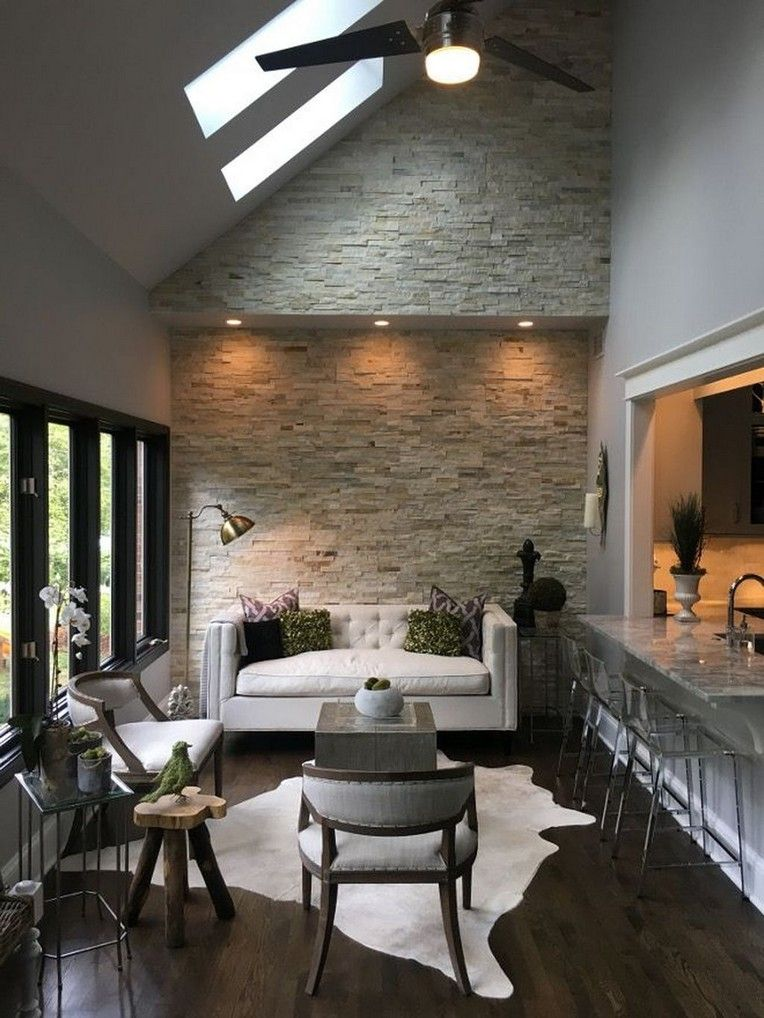 44 Amazing Living Room With Stone Wall Design Ideas With Images