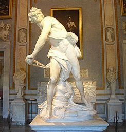David, Bernini, marble, Italian Baroque, 1620s. object just launched, viewer is in the scene, emotive, older david
