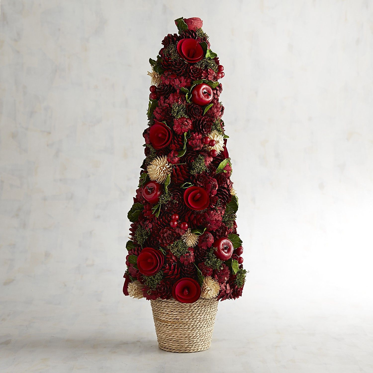 "Pinecone, Wood Curl & Faux Apple 20"" Topiary (With images ..."