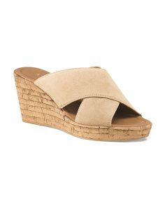 Made In Italy Suede X Band Cork Wedge