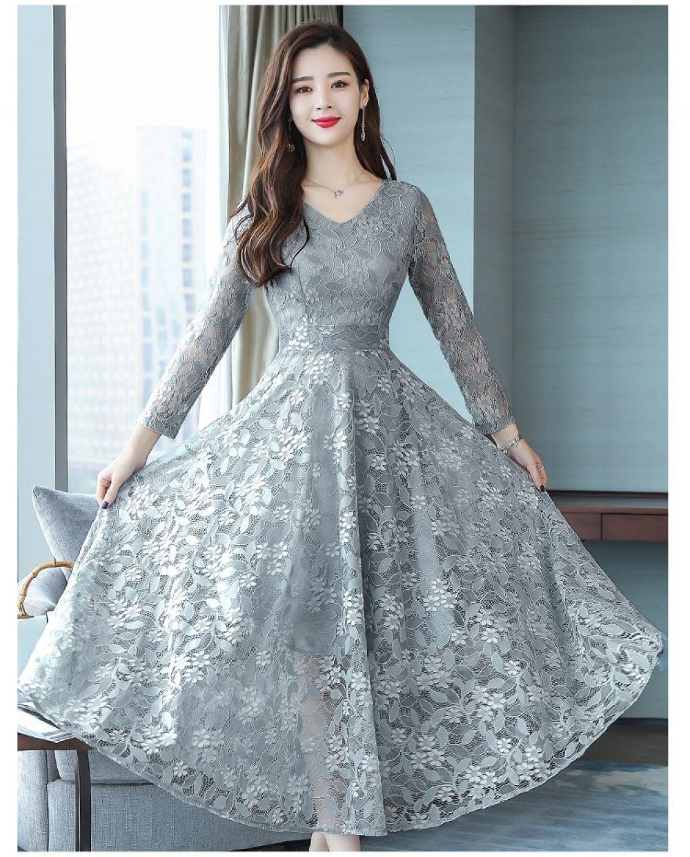 Autumn Fashion Romantic Lace Pink Female Dress The 2018 New Style V-neck  Designs Elegant 71e0fb0ab536