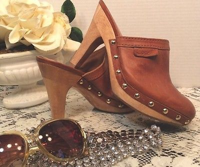 Coach Georigette Leather/Wood Clog/Mule/Heels With Gold Studs Size 5.5  | eBay