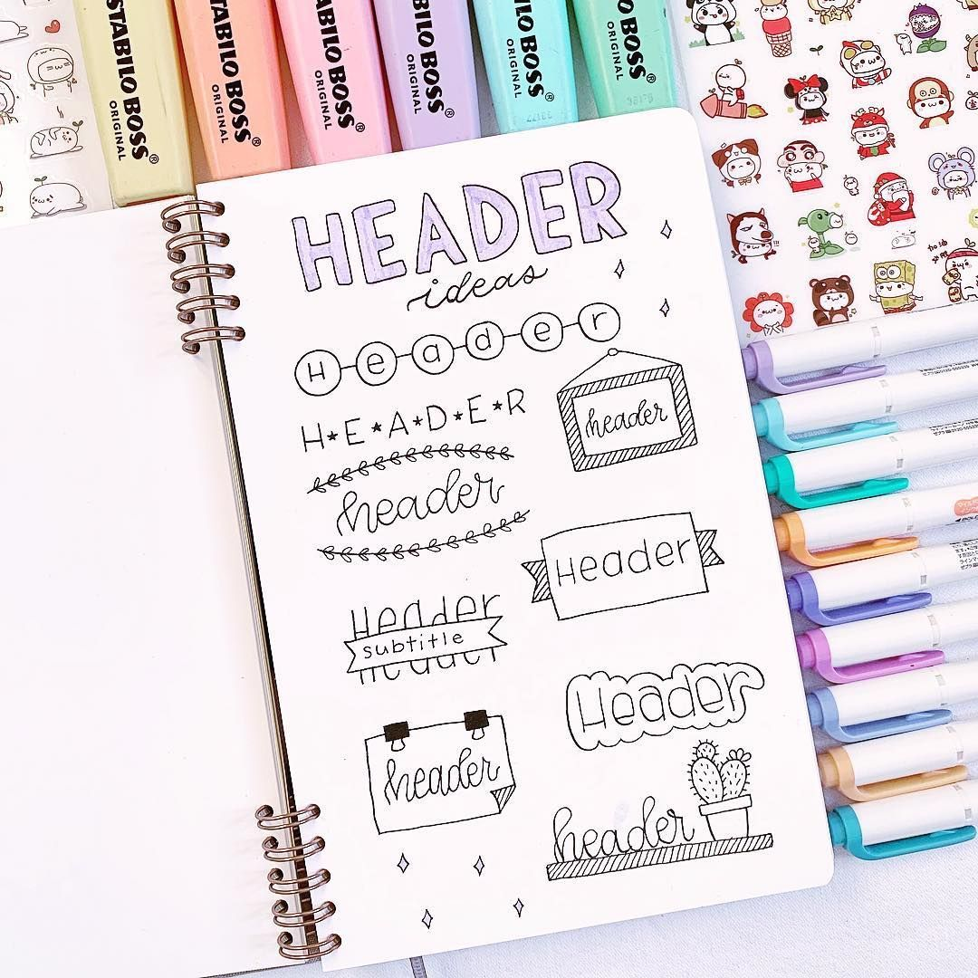 Today I wanted to show you some header ideas that you can use in your bullet journal or in your study notes