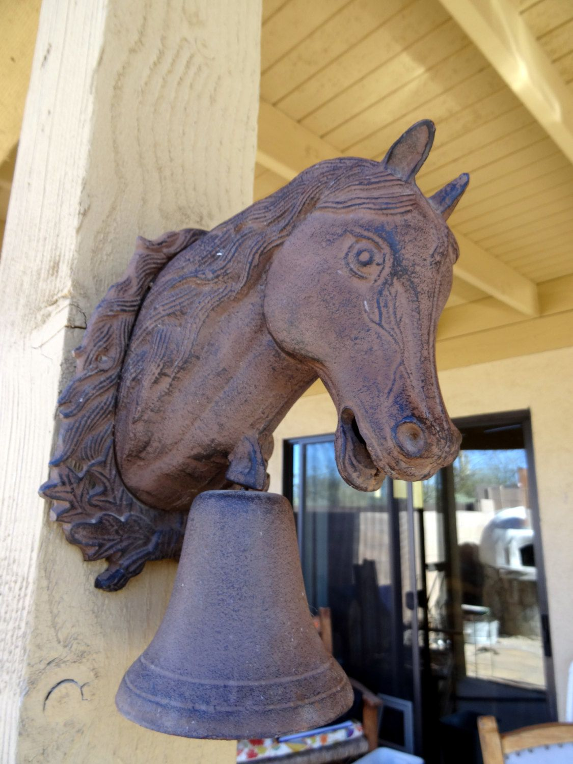 Vintage Cast Iron Horse Head Bell Outdoor Wall Mount
