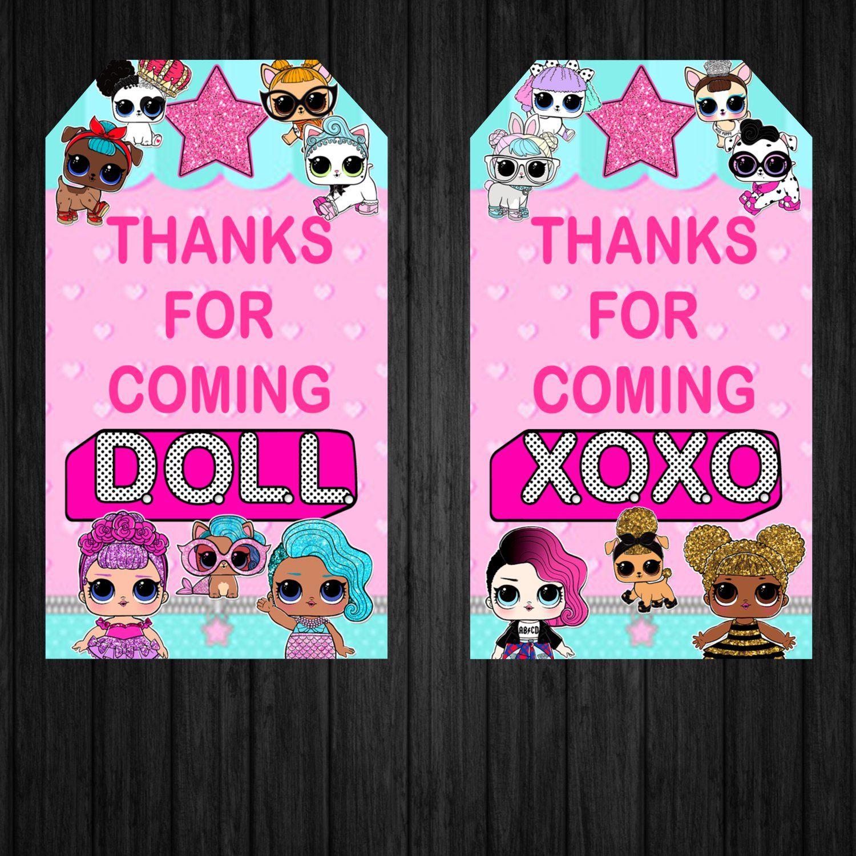 Lol Surprise Dolls Favor Tags Box Printable Digital Instant