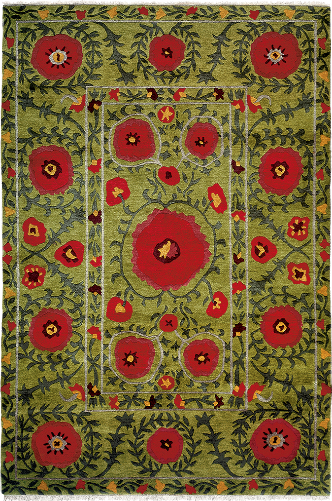 Field Of Poppies Green A Contemporary Southwest Style Oriental Area Rug With Colorful Flowers On Color