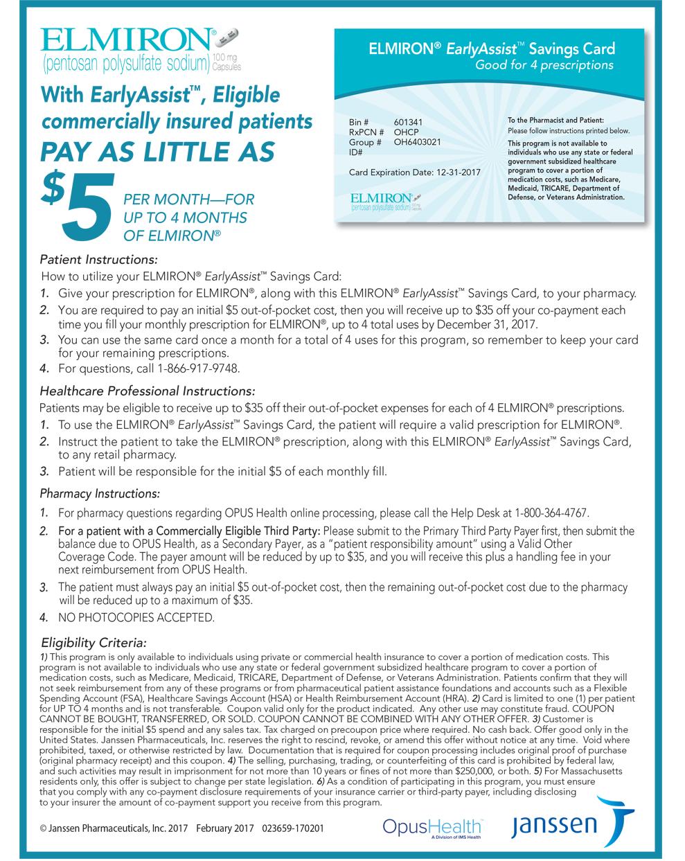 ELMIRON® (pentosan polysulfate sodium) | Patient savings and