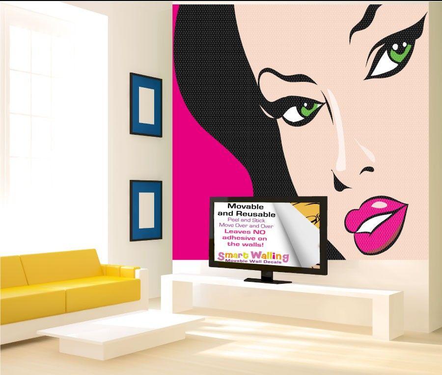 Pop Art Woman Wall Stickers Totally Movable Pop Art Arte