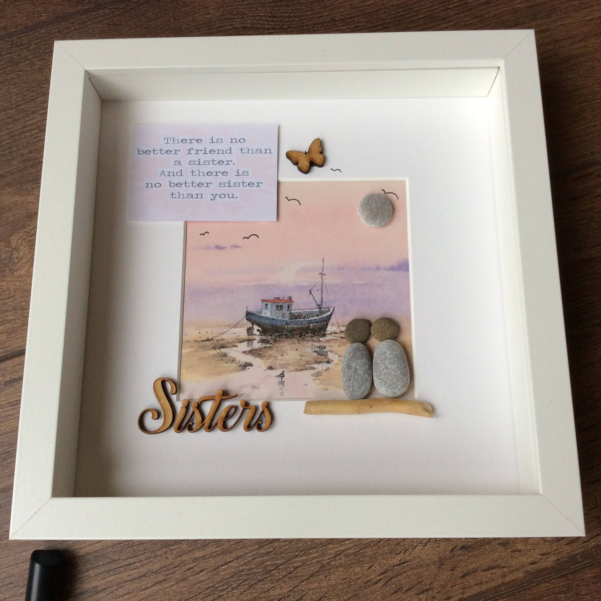 Pebble Art Sisters, gift for her, gift for sister, wall art, wall ...