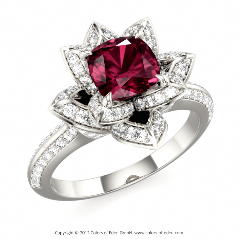 Lotus Engagement Ring with Rhodolite Garnet and Diamonds New