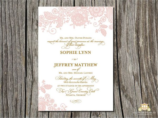 Vintage Pink Lace And Gold Wedding Invitation