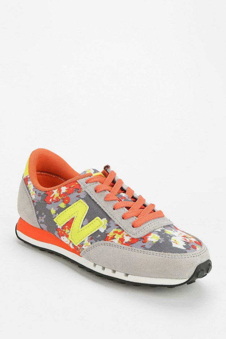 low priced a0e92 f416c New Balance 410 Floral Blur Running Sneaker – orange, gray, yellow abstract  flower pattern shoe
