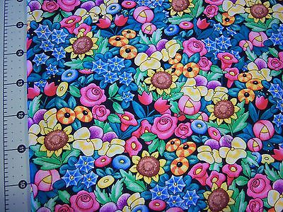 **Mary Engelbreit   Bright *  Cotton quilting fabric* BTY Floral Lovey**yard