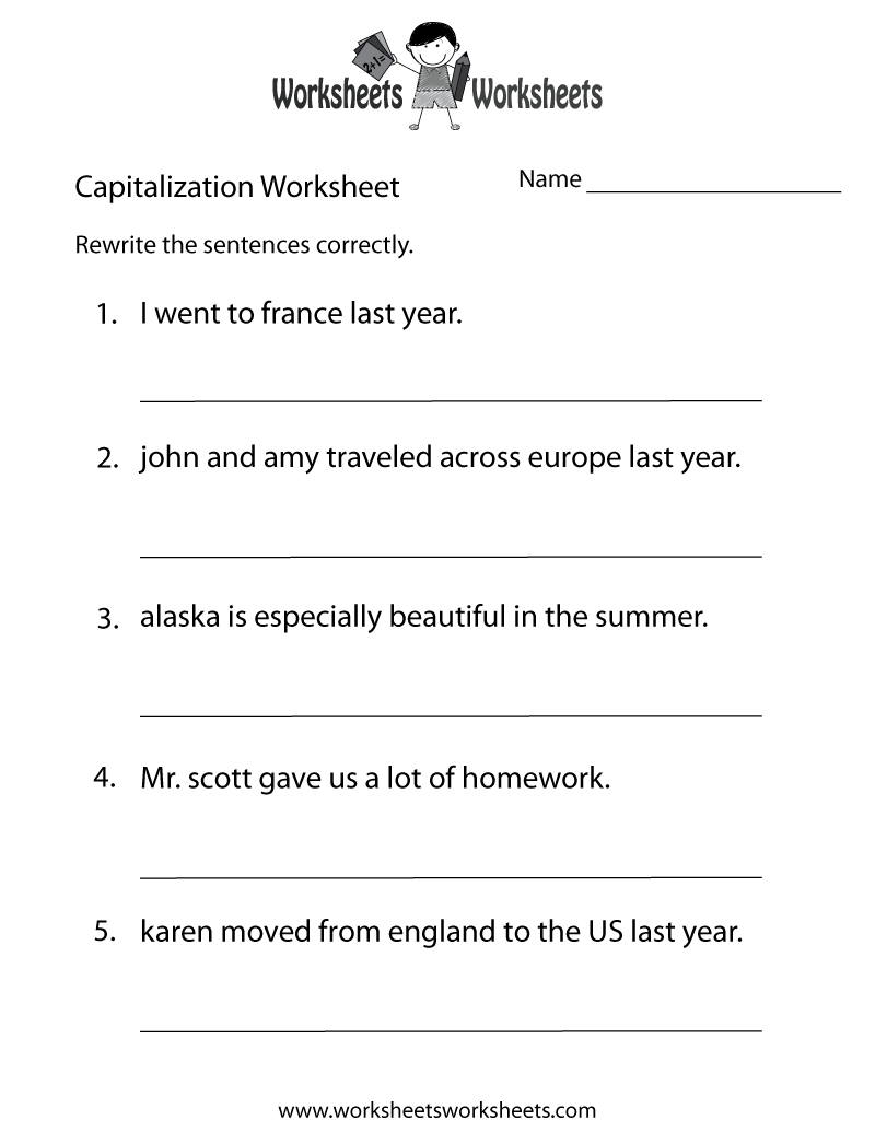 Capitalization Worksheets Capitalization Practice Worksheet Free