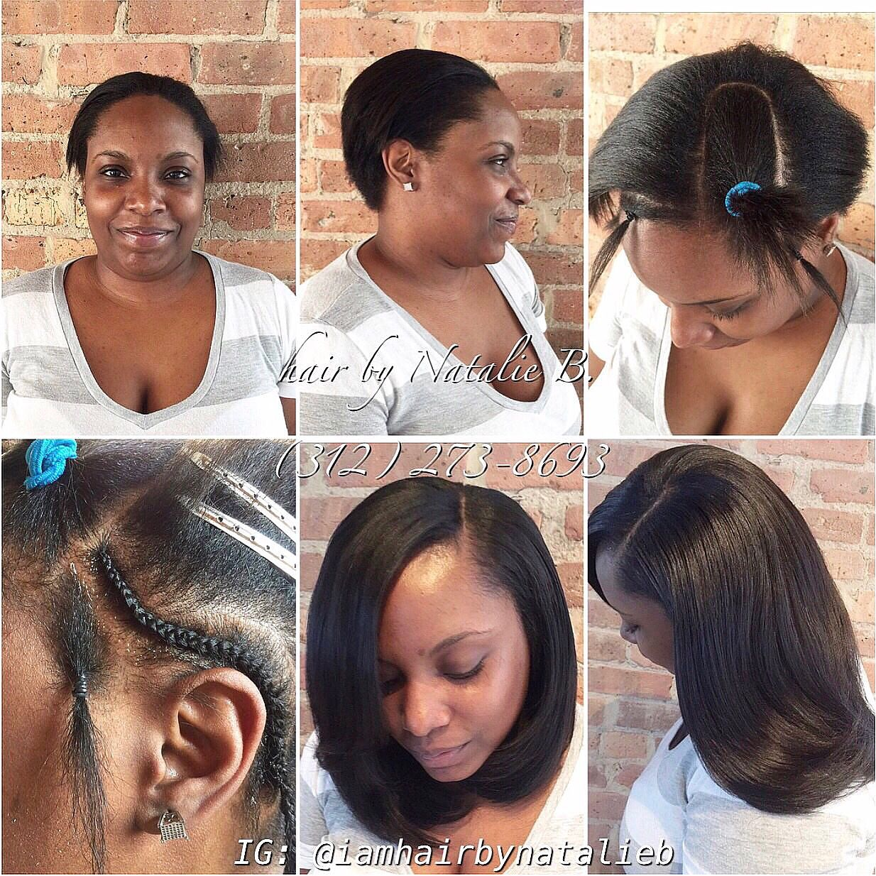 Traditional Sew In Hair Weave With Leave Out On A Client With Short Hair Call Or Text Natalie B At Weave Hairstyles Hair Styles Short Hair Styles