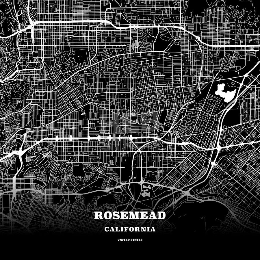 Black Map Poster Template Of Rosemead California Usa Maps Vector