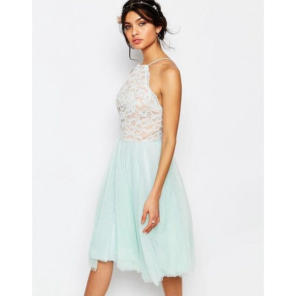 Jarlo Edie Tulle Lace Halter Dress (77 CAD) ❤ liked on Polyvore featuring dresses, green, white lace dresses, lace halter dresses, lace dress, lace halter top and green halter dress