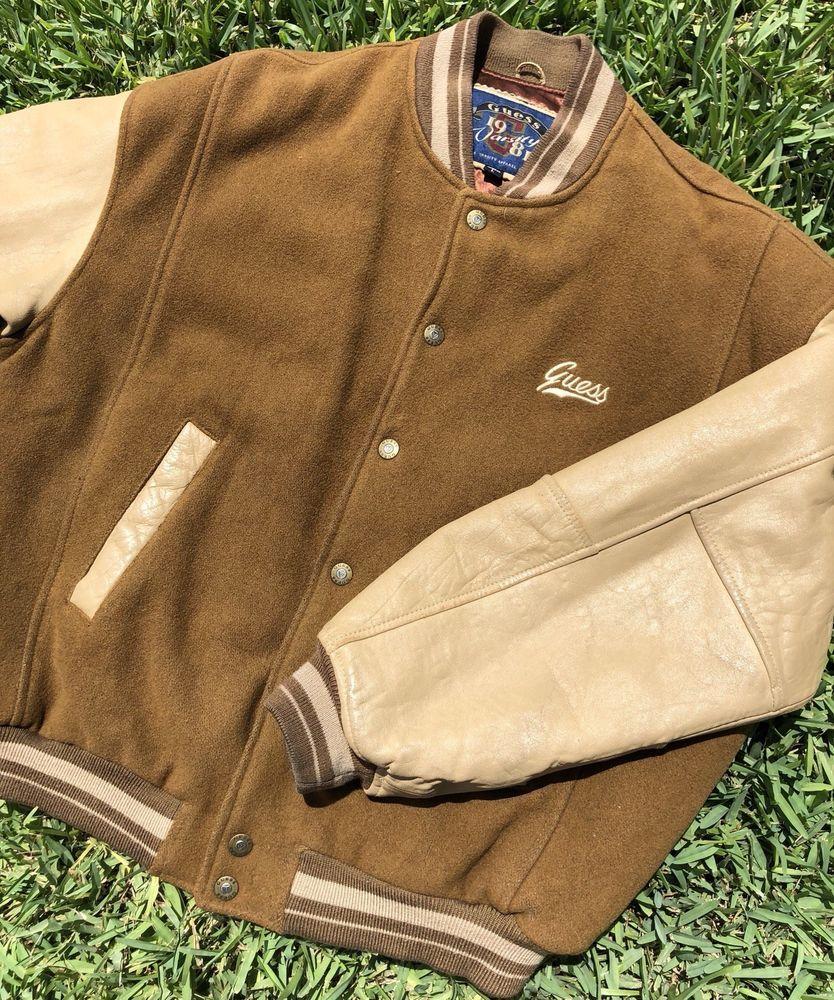 Vintage Guess Jeans Usa Varsity Letterman Full Zip Jacket Spellout Size L Jackets Zip Jackets Guess Jeans [ 1000 x 834 Pixel ]