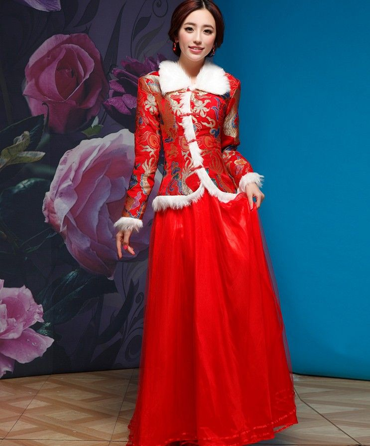 Vintage Bridal Chinese Red Winter Qi Pao Embroidery Long Thick Coat ...