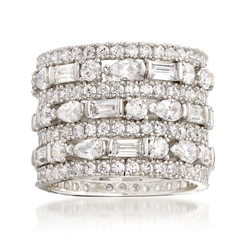 6.56 ct. t.w. CZ MultiRow Eternity Band in Sterling