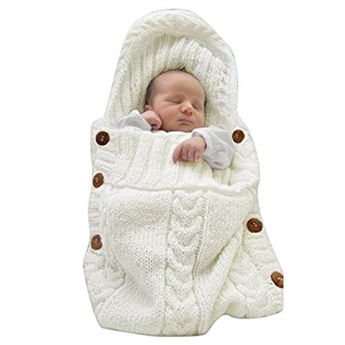 DEARWEN Newborn Baby Blanket Toddler Knit Blanket Swaddle Sleeping Bag Sleep Sack Stroller Wrap for 0-12 Months Baby(Beige) - $11.99