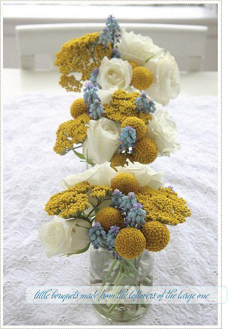 yellow, white, blue flowers