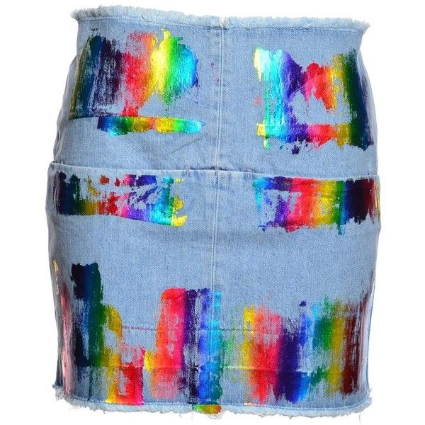 Rainbow Paint Denim Mini Skirt ($205) ❤ liked on Polyvore featuring skirts, mini skirts, denim skirt, short mini skirts, denim miniskirt, blue mini skirt and short denim skirts