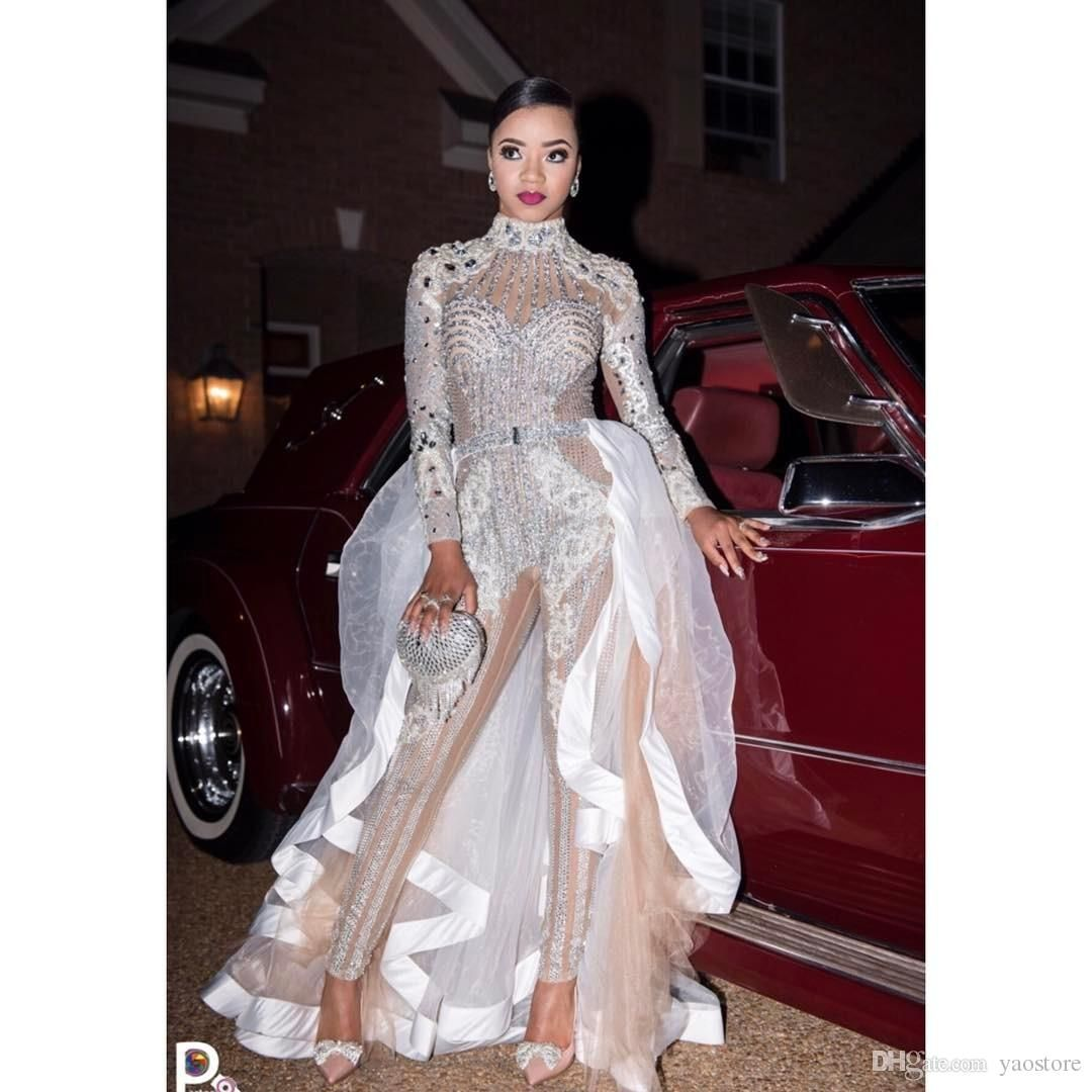 Wedding dress bodysuit  Stunning Jumpsuit Wedding Dresses With Lace Crystals  Two In One