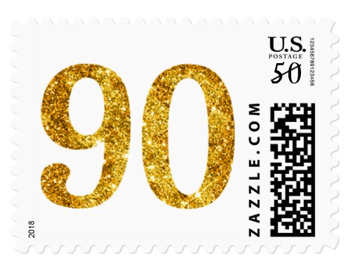 Glamorous Gold Glitter 90th Birthday Postage Stamp 90th Birthday Postage Stamp With Golden Glitter Number 90 Note T Birthday Postage Self Inking Stamps Stamp