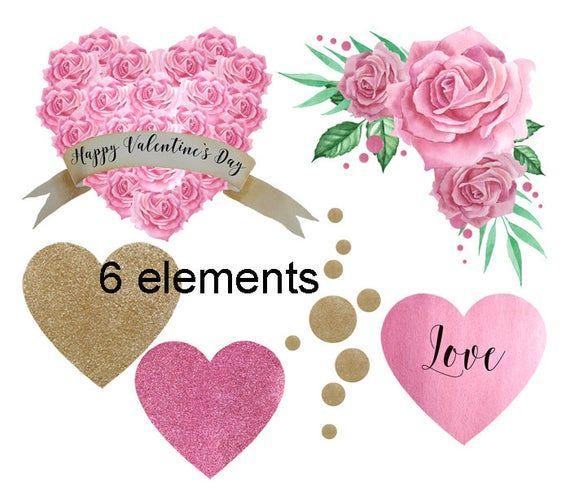 Saint-Valentin clipart, clipart aquarelle, ballons Clipart, Clipart mariage, Saint Valentin Clipart, aquarelle coeurs, amour clipart rose