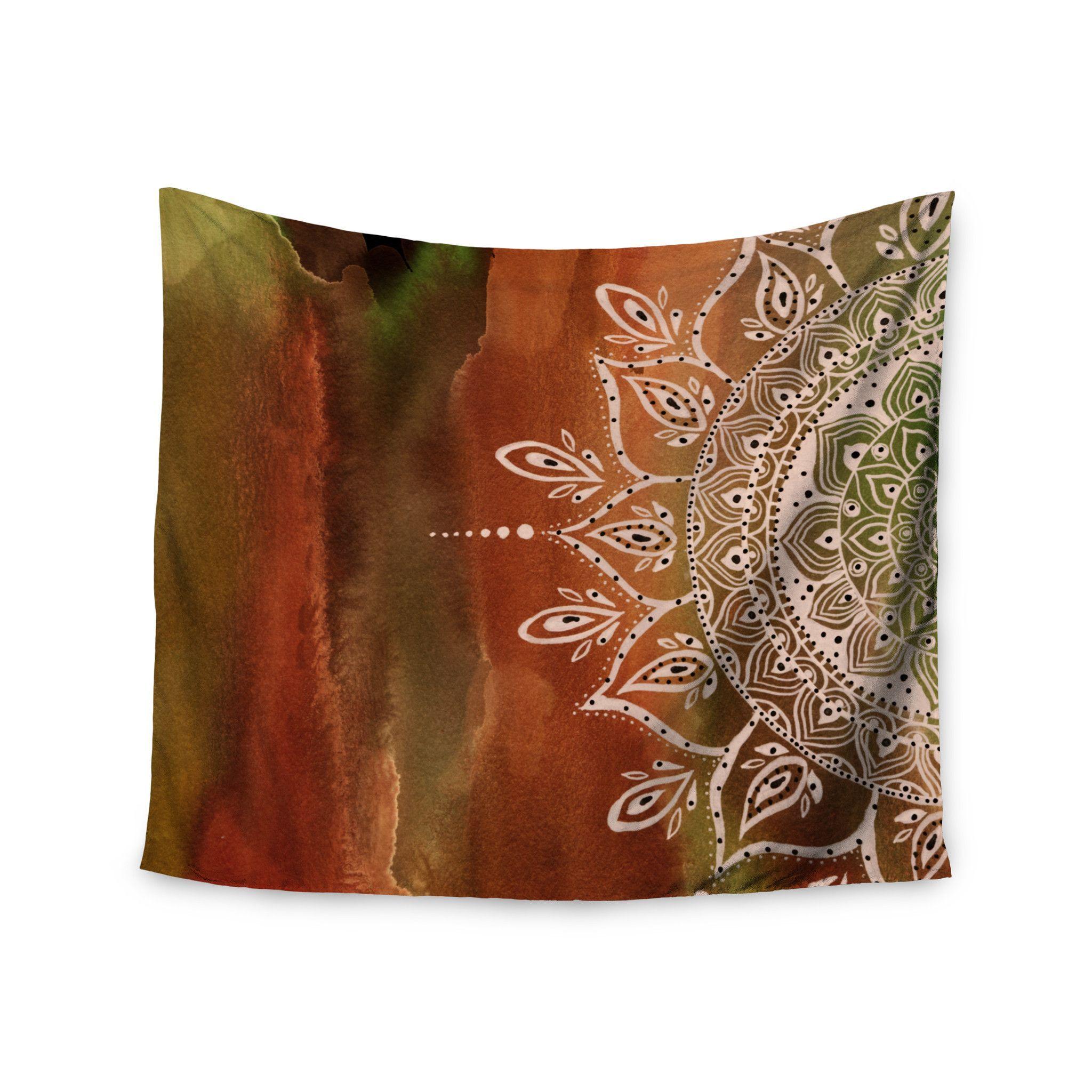 """Li Zamperini """"Autumn Mandala"""" Orange Brown Wall Tapestry"""