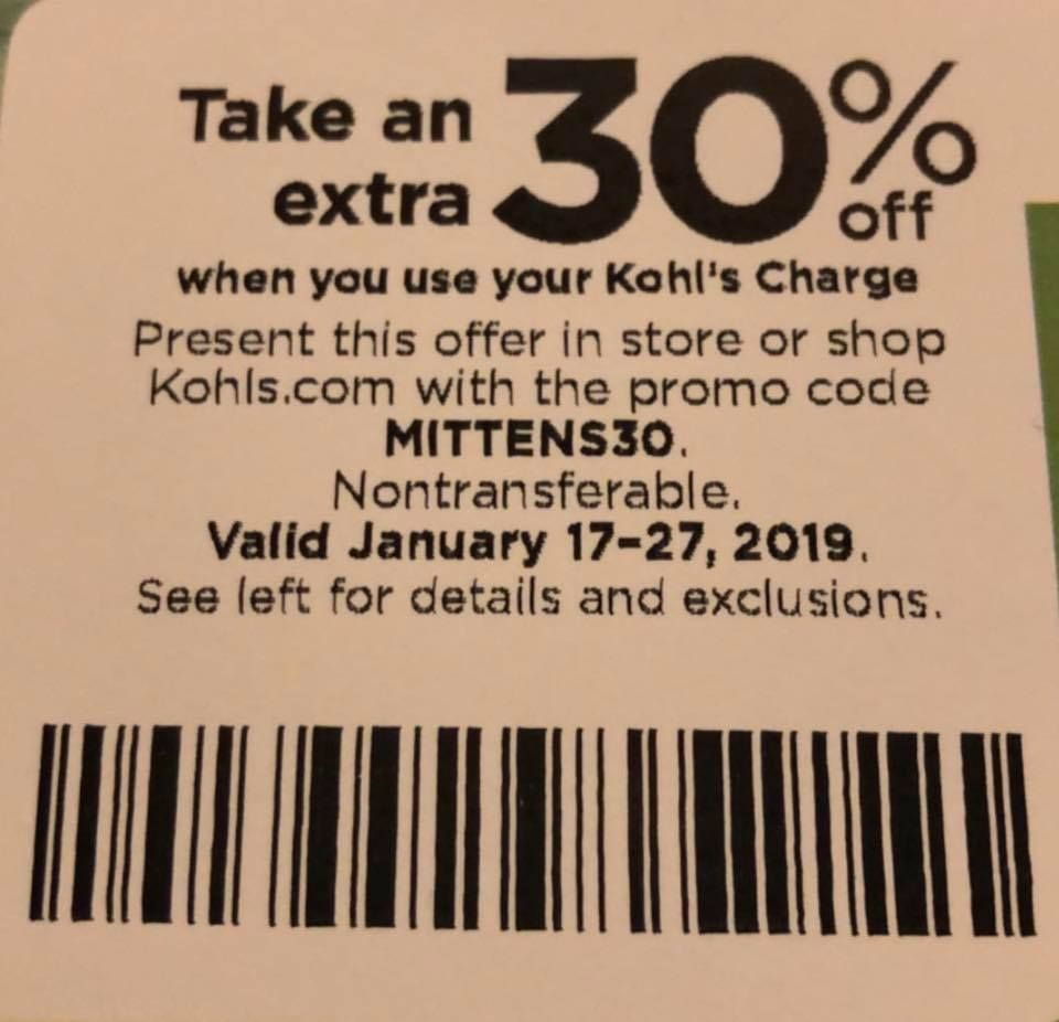 kohls coupons 30 percent off january 2019