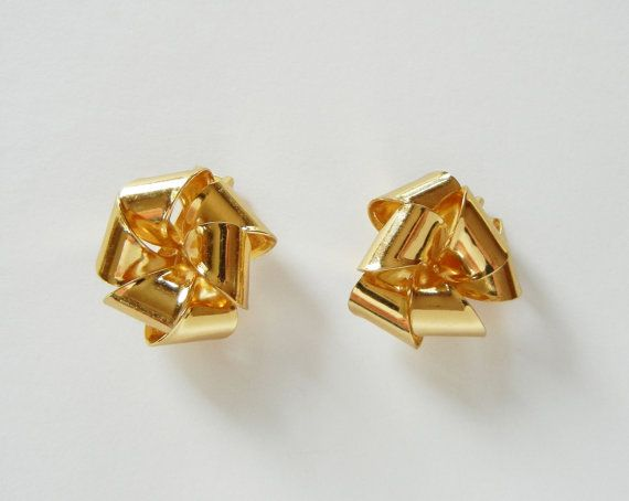 Chritstian Dior Large Clip on Earrings Gold by RockArtemisVintage, $45.00