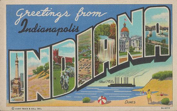 Vintage Hoosier Postcards Greetings from Indiana