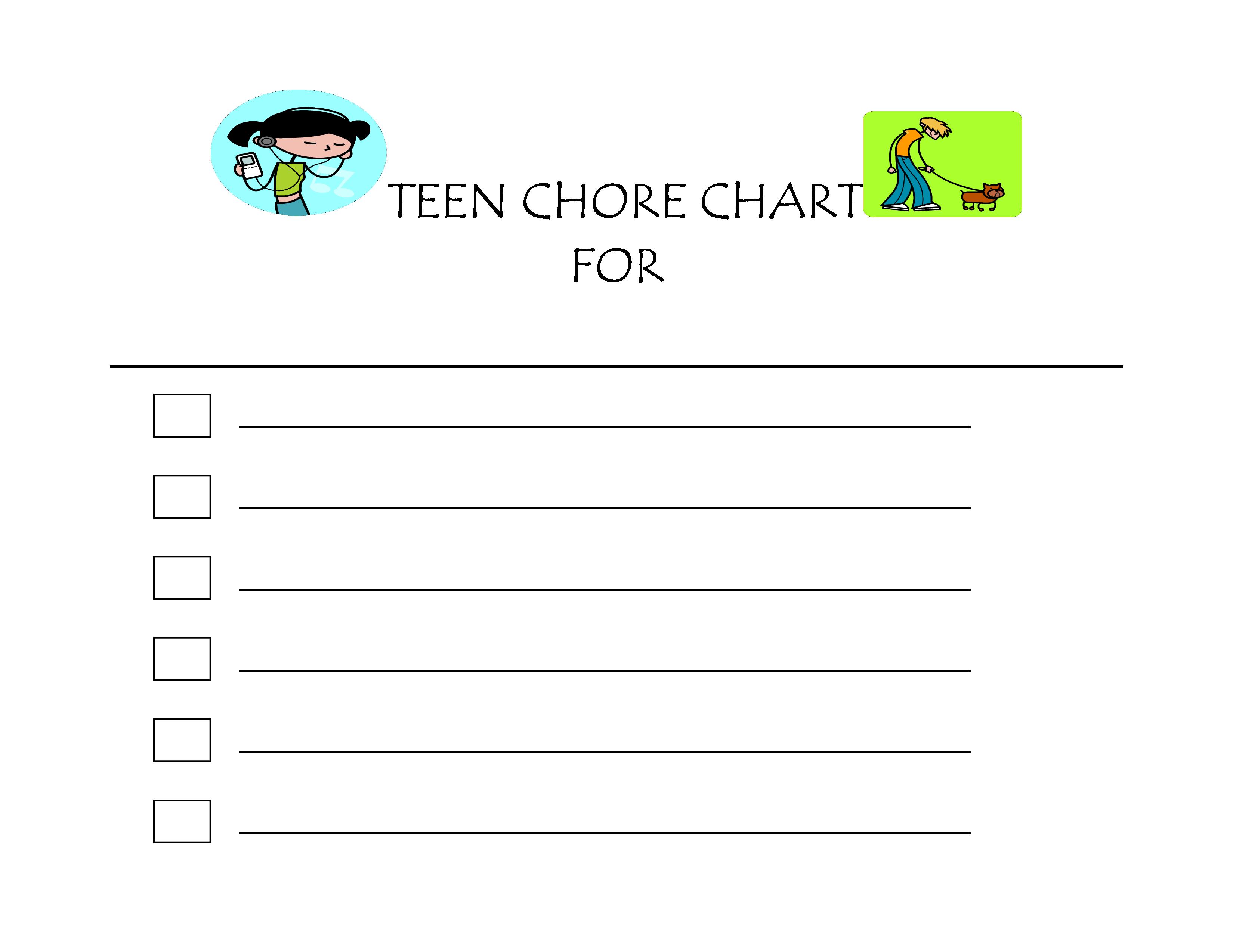 Teen Chore Chart Free Adobe PDF template - Teen Chore Chart Free ...