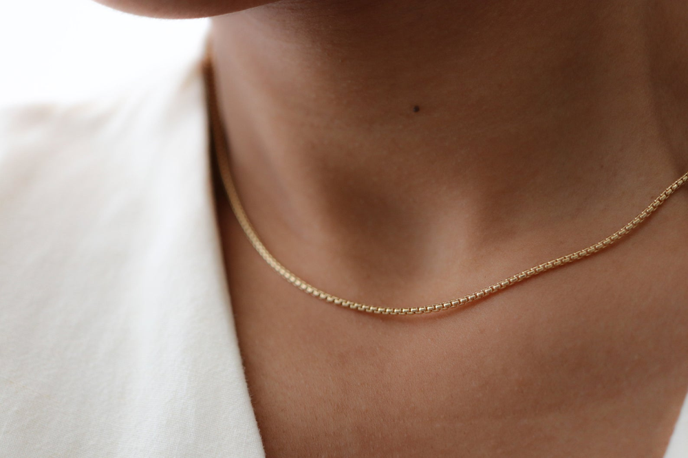 Box Chain Necklace Gold Layering Necklace 14k Gold Filled Etsy In 2021 Minimal Jewelry Gold Necklace Minimalist Jewelry