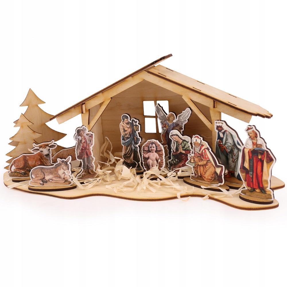 Szopka bożonarodzeniowa drewniana do dekorowania Radość
