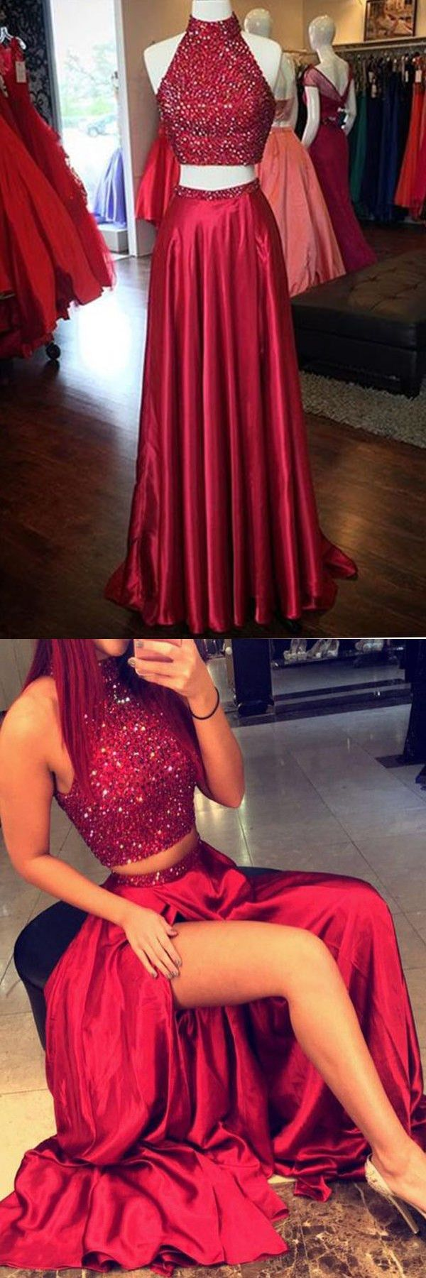Sparkling Red Halter Two Piece Split Prom Party Dress With