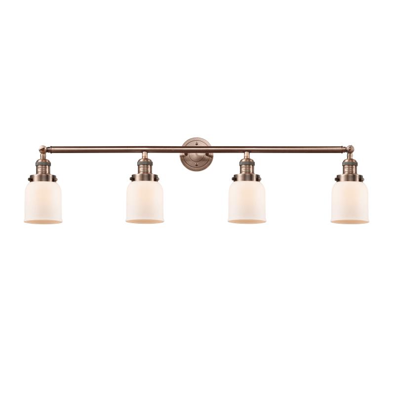 "Photo of Innovations Lighting 215-S Small Bell Small Bell 4 Light 43 ""Wide Bathroom Vanit Antique Copper / Matt White Housing Interior Lighting Bathroom Faucets"