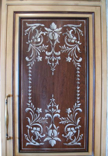 Stenciled kitchen door panel- I'm thinking white background and ...