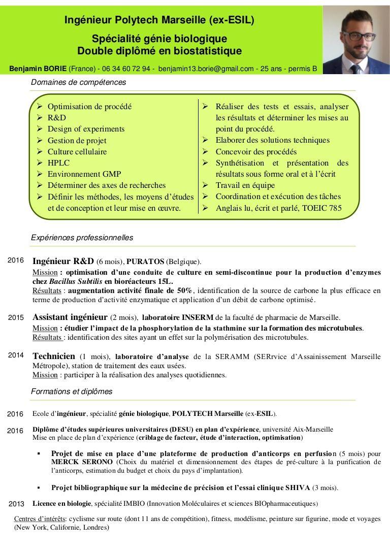 Exemple De Cv Ingenieur Production Dans Les Biotechnologies Cv Ingenieur Exemple Cv Ingenieur