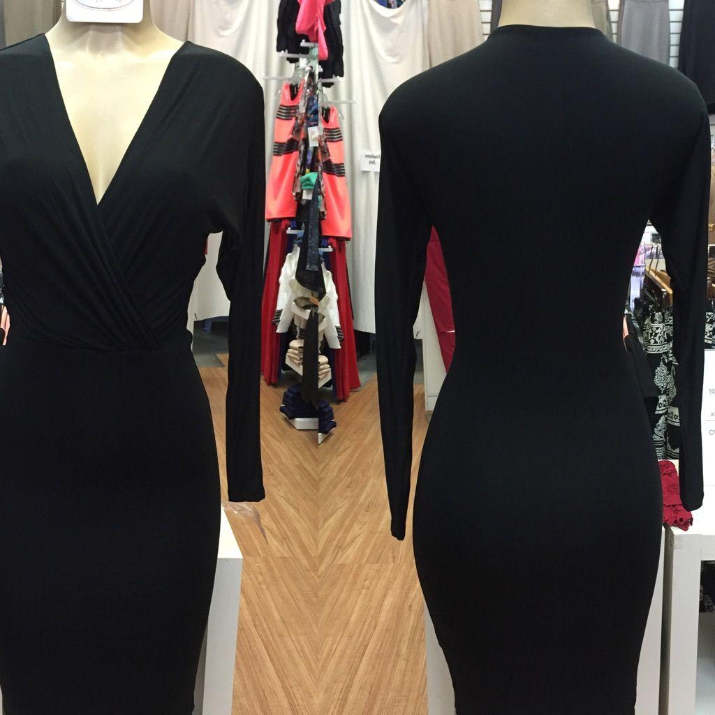 Medium black long sleeve bodycon dress products pinterest products