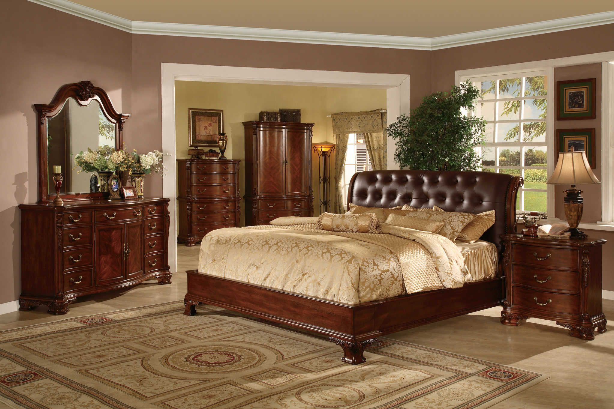 Tufted leather headboard bed traditional king and queen wood bedroom set in brown finish 8690 for Brown leather bedroom furniture