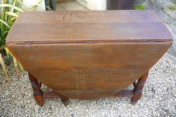 Large Oval Farmhouse Antique Oak Dining Table Gateleg Table