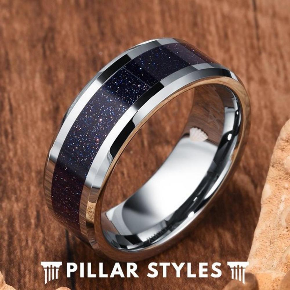 Tungsten Wedding Band Mens Ring Purple Opal Ring Mens