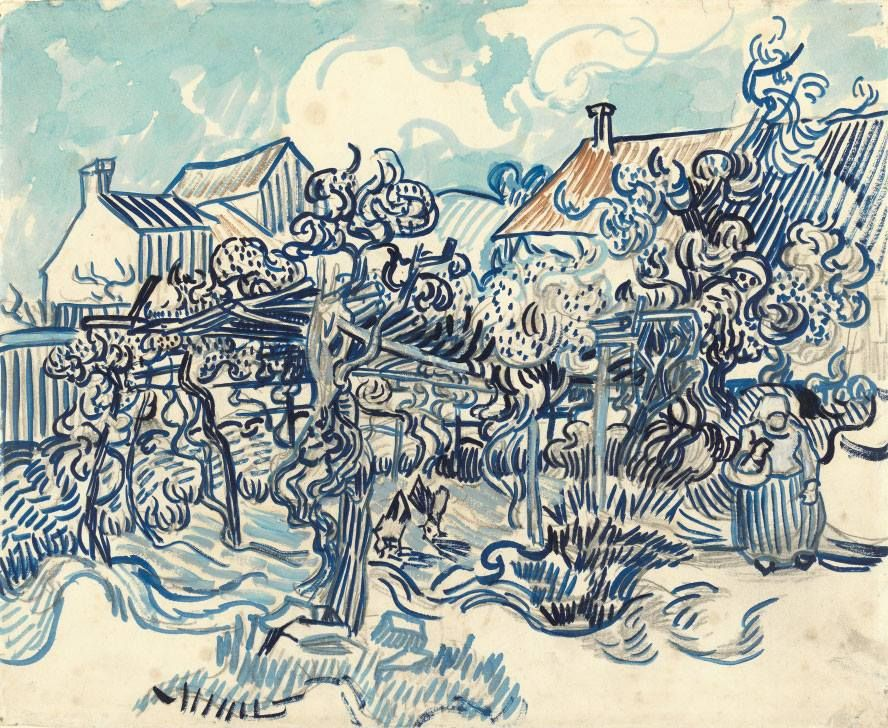 in 1890 Vincent left the mental hospital and went to Auvers-sur-Oise. Over there he drew this vineyard: http://bit.ly/Old-Vineyard (888×728)