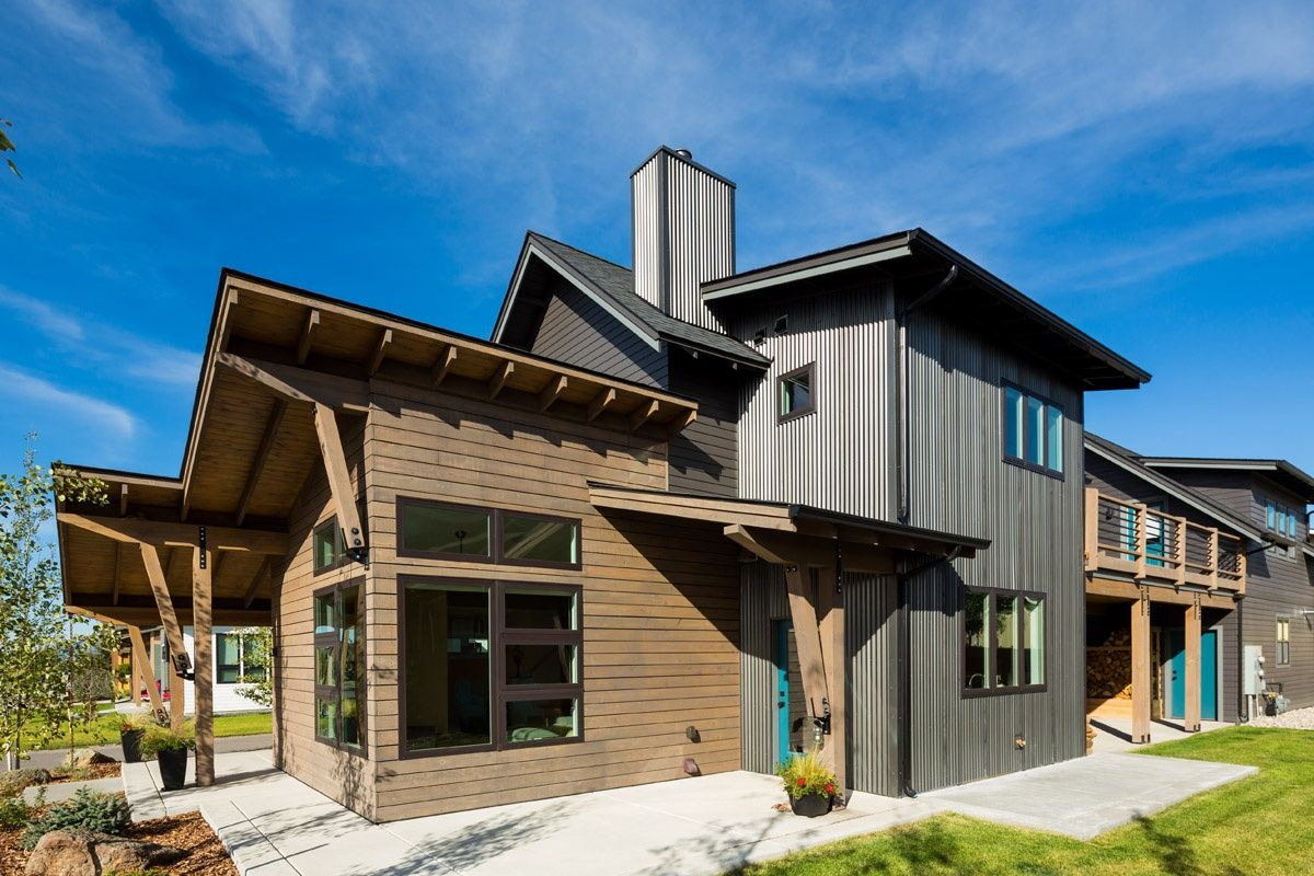 Metal Siding On Gable Ends Above Deck Roof Could Provide Low Maintenance Exterior Protection Metal Building Designs Metal Buildings Corrugated Metal Roof