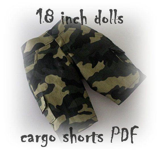PDF pattern for boy cargo shorts 18 inch dolls #boydollsincamo