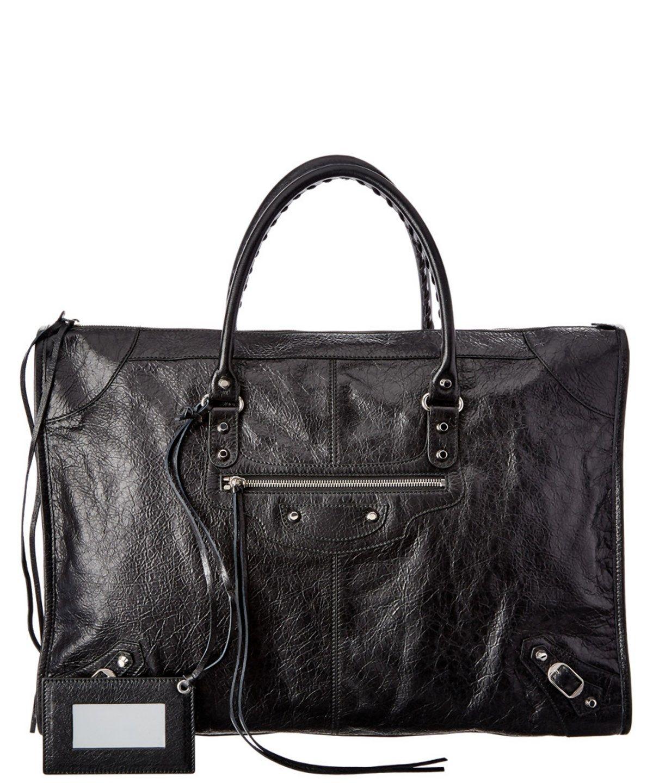BALENCIAGA BALENCIAGA CLASSIC WEEKENDER LARGE LEATHER TOTE'. #balenciaga #bags #tote #leather #lining #travel bags #hand bags #weekend #
